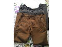 34 reg x2 chino straight leg trousers - NEXT and John Lewis - tan and grey