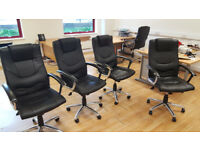 10 Black Leather-Faced Executive Chairs