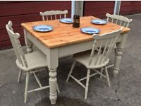 Solid pine kitchen table with stick back chairs, Annie Sloan 'Country Grey' distressed wax finish