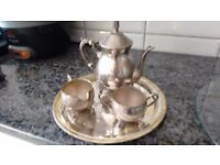 TEA POT SET- Sterling silver-plated with tray