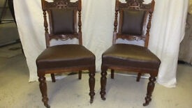 Set of 6 very old sold oak dining chairs