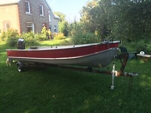 16' Aluminum Boat with Motor and Trailer reduced for quick sale