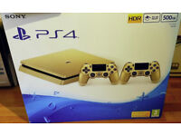 Details about SONY PS4 GOLD LIMITED EDITION SLIM CONSOLE 2 X CONTROLLERS BUNDLE NEW SEALED