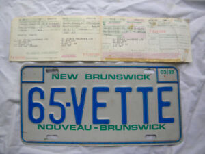 """""""65 VETTE""""  - N.B. Personalized License Plate with Registration"""