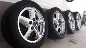 Jante mag GM pontiac 16 pouces + pneus +  20 nuts chromé