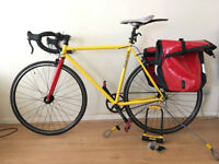 Original MANGO single speed/ fixed gear bicycle! Yellow and Red! Medium 5ft 8-11!