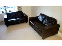 Ikea Skogaby leather sofa's x 2 very good condition