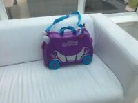 Girls purple princess ride on travel trunki