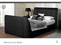 Benson & beds ..Black leather TV kingsize bed .