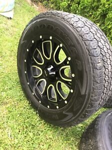 "18""Helo Wheels & All terrain tires (Valued over $2,500)"