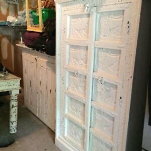 ANTIQUE ARMOIRE- INDIA RAJASTHAN WHITE DISTRESSED