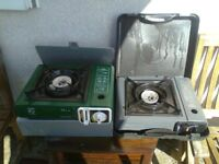 two portable gas camping stoves