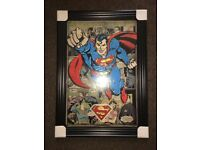 Superman liquid art with SWAROVSKI crystal (BRAND NEW) in solid frame