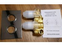 Twin concealed shower valve and chrome plate