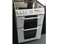 O433 white hotpoint 60cm double oven ceramic hob electric cooker comes with warranty