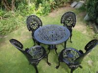 VINTAGE CAST ALUMINIUM GARDEN SET ----TABLE AND 4 CHAIRS --VICTORIAN STYLE