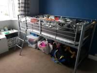 Metal mid-sleeper single bed
