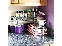 Kitchen/Office 3 Tier Glass Corner Worktop Organiser Desk/Shelf Tidy spice/herb.... brand new