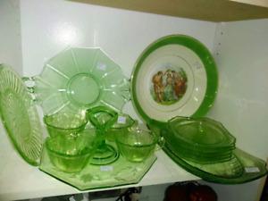 Antique Vaseline and Depression  Green Glass