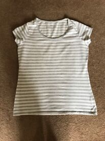 M&S grey and white stripy top. Size 14. Worn once