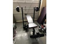 Weight bench + weights