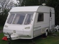 1995 Caravan 2 Berth Sterling Europa 450 end bathroom and Apache Awning