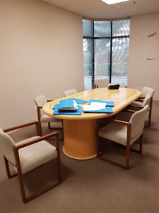 DESKS,CHAIRS,BOARDROOM TABLE, FILING CABINETS
