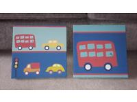 A Pair Of Kids Bedroom Canvases, 25cm by 25cm