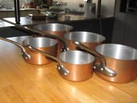 SET OF FIVE ORIGINAL FRENCH SAUCEPANS (NEVER USED)