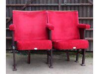 A Pair of Vintage Art Deco C1930s Red Velvet Cinema Seats REF102