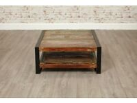 Java Industrial Square Coffee Table with Shelf made from Reclaimed Rustic Boatwood - Brand New