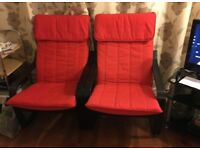Pair of Ikea black and red chairs