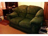 2 seater sofa in dark green