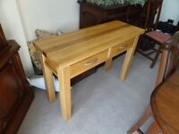 NATURAL OAK CONSOLE/HALL TABLE with TWO STORAGE DRAWERS - Solid Wooden Furniture