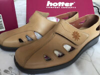 HOTTER Passion Leather Beige Size 6.5 Wide Fit NEW Boxed