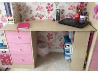 Pink Wooden Desk Workstation