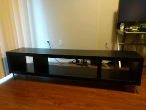 Black, wood TV stand, 75 inch wide