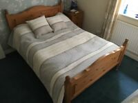 Solid waxed pine framed double bed