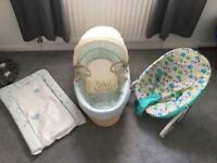 Baby bouncer, Moses basket and changing mat