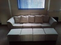 New 4 Seat Sofa With Stools With Sofa Bed Option - Beige Fabric - Clearance!