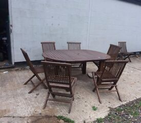 Garden table and 6 chairs patio set
