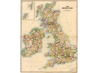 A1 sized framed map of the UK & Ire (1884 edition) with modern map on reverse side.
