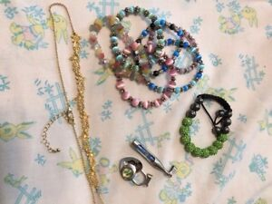 And assortment of charms bracelets and necklaces