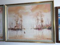 Lovely Jorge Aguilar-Agon – Signed Framed Oil Painting - River Scene