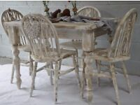 Rustic Pine Farmhouse Dining Table & 4 Wooden Chairs