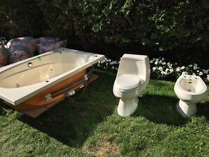 Jacuzzi whirlpool bath and Kohler toilet/bidet set