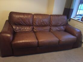 Soft real leather 3 seater sofa.