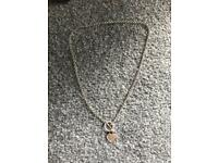 Real silver heart chain necklace