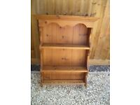 Antique pine wall hanging unit with 2 shelves plus rail