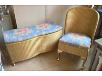 beautiful vintage ottoman and chair